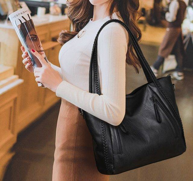 Ladies' Black Casual Tote Bag