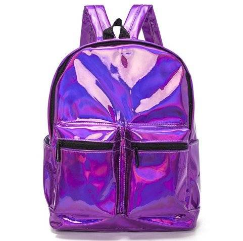 Multipocket Glossy Holographic Backpack