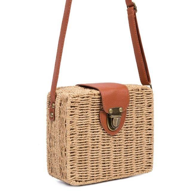 Women's Square Straw Messenger Bag