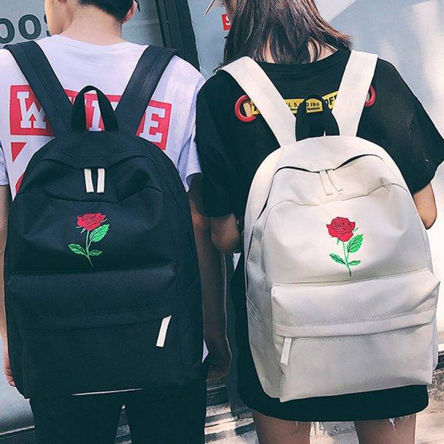 Women's Rose Embroidered Backpack