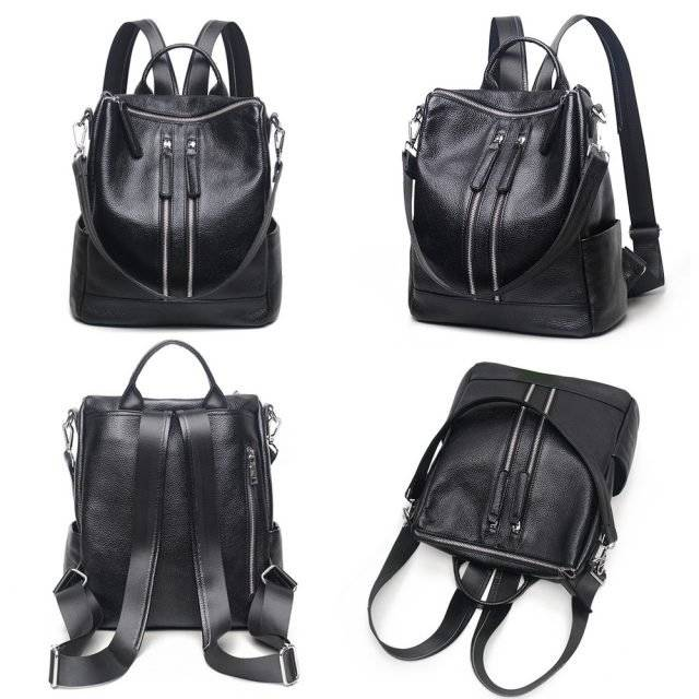 Casual Women's Genuine Leather Transformer Backpack