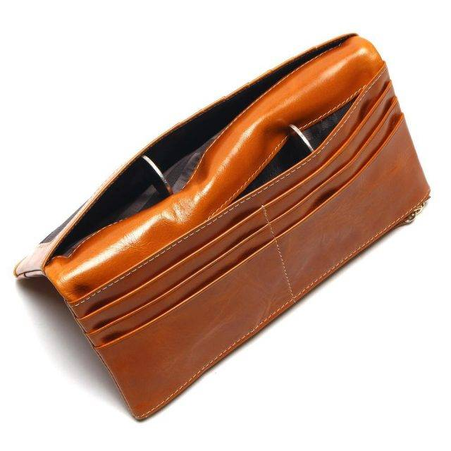 Waxed Genuine Leather Long Wallet for Women