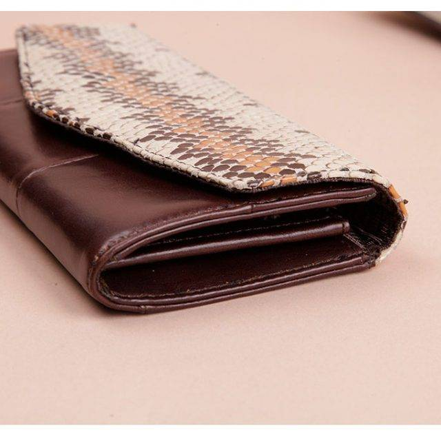 Snake Skin Patterned Leather Clutch