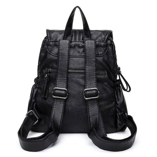 Trendy Women's Genuine Leather Laptop Backpack