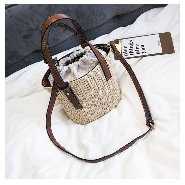 Compact Fashion Straw Bucket Bag