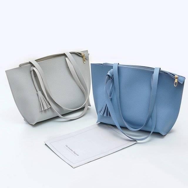 Women's Solid Color Shoulder Bag with Tassels