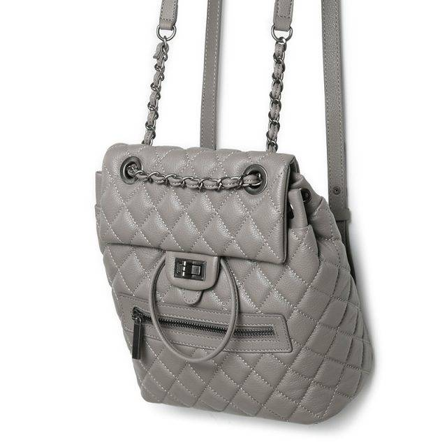 Fashion Women's Genuine Leather Backpack with Decorative Chain