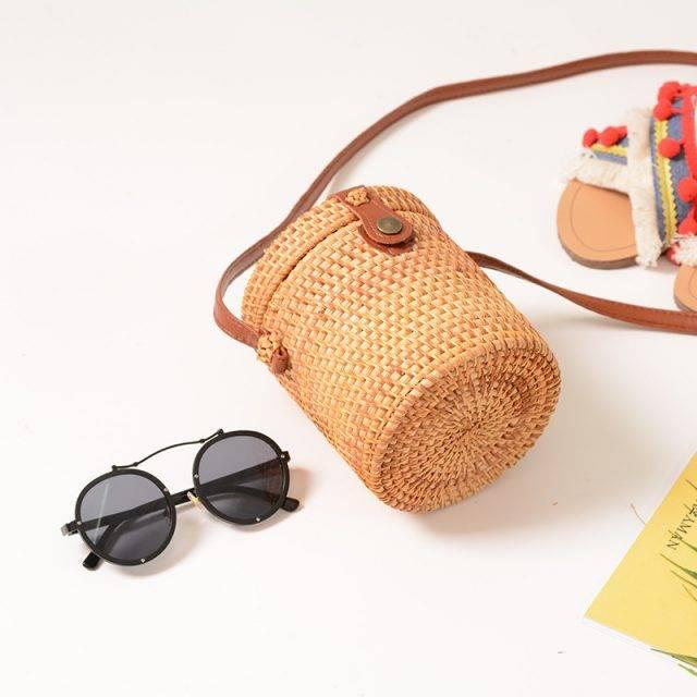 Boho Rattan Straw Crossbody Women's Bag