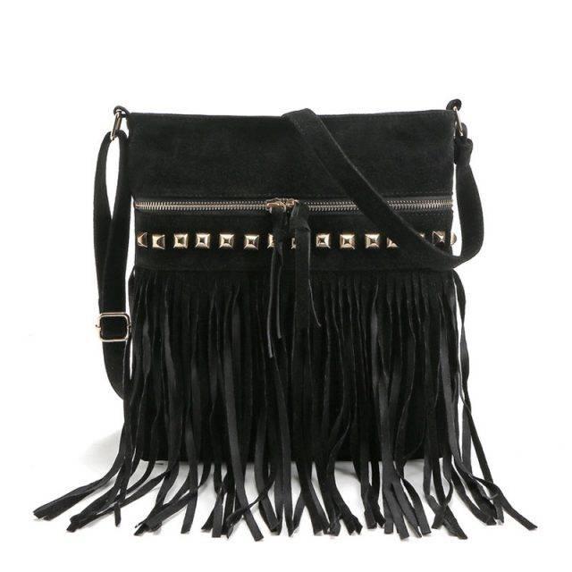 Women's Shoulder Bag with Tassels