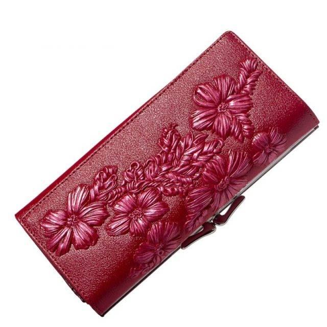 Floral Embossed Long Wallet