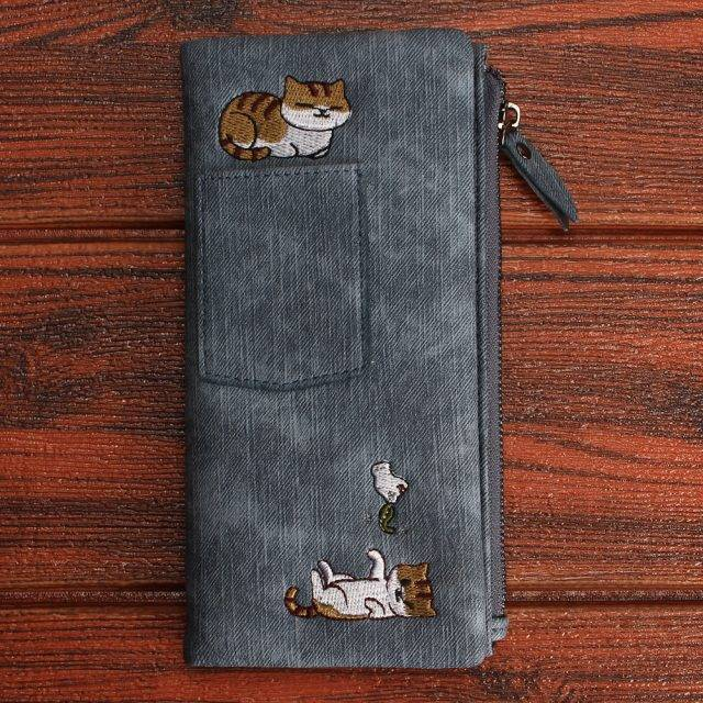 Women's Cat Printed Leather Wallet