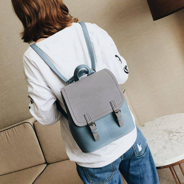 Women's Minimalist Style Pastel Color Backpack