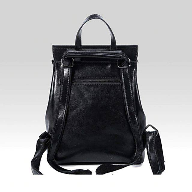 Women's Minimalistic Style Leather Backpack