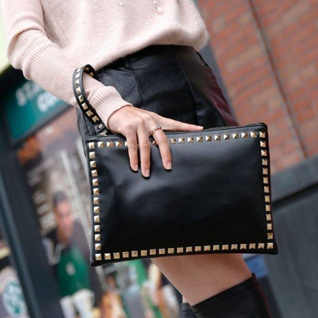 Women's Rivet Envelope Clutch
