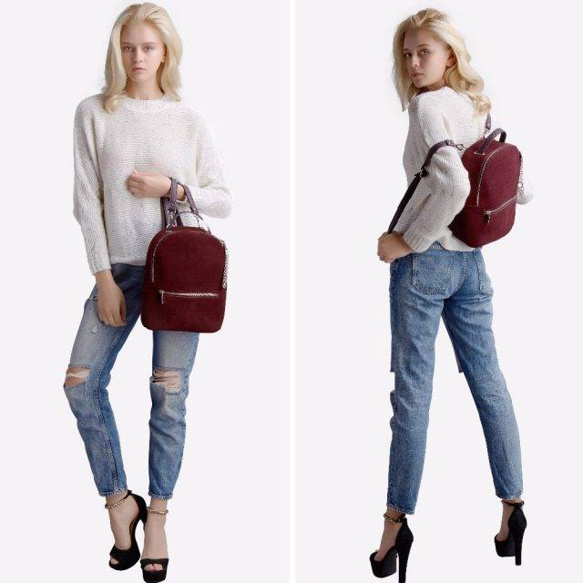 Elegant Women's Genuine Leather Backpack with Decorative Chain