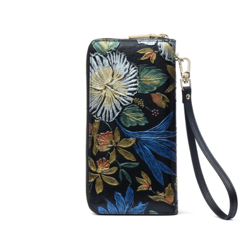 Patent Leather Women's Wallet with Floral Ornament