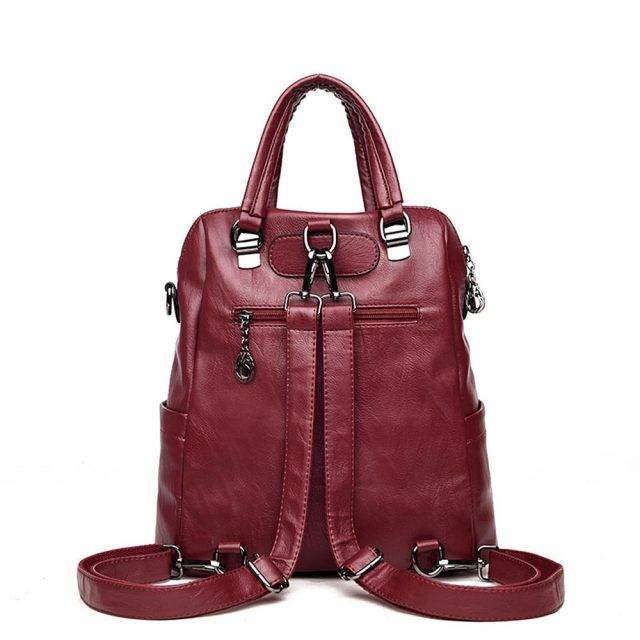 Women's Stitched Style Leather Backpack