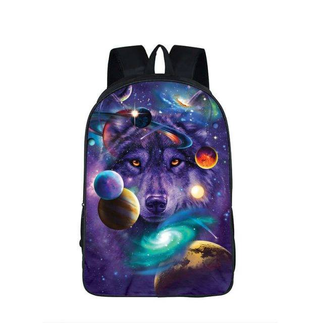 Unisex Stars and Planets Printed Backpack