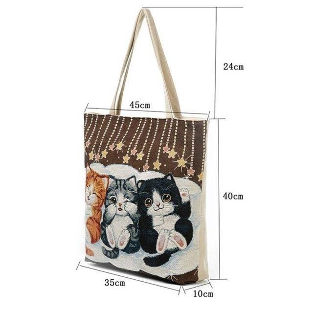 Women's Beach Cats Embroidered Handbag