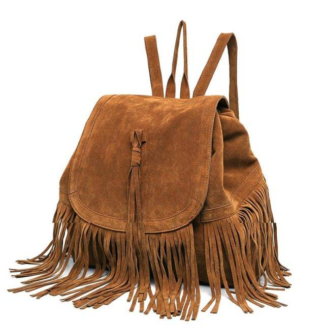 Fashion Solid Women's Faux Suede Backpack with Tassel