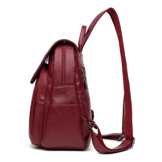 Vintage Hasp Closure Women's Genuine Leather Backpack