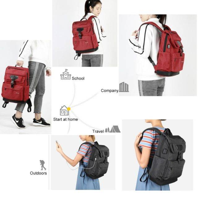 Women's Backpack with USB Charging Port