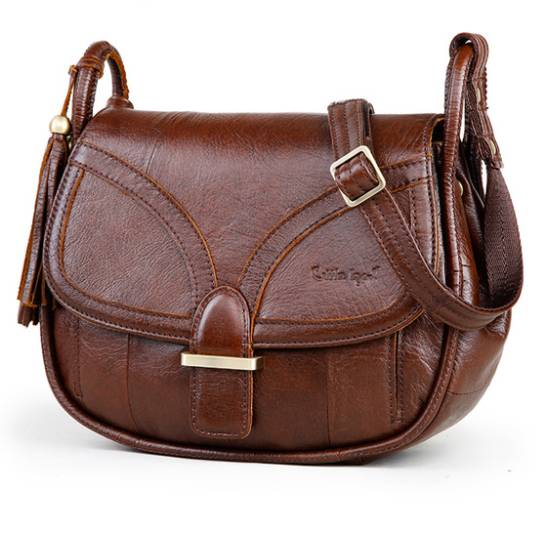 Cute Vintage Compact Leather Women's Crossbody Bag
