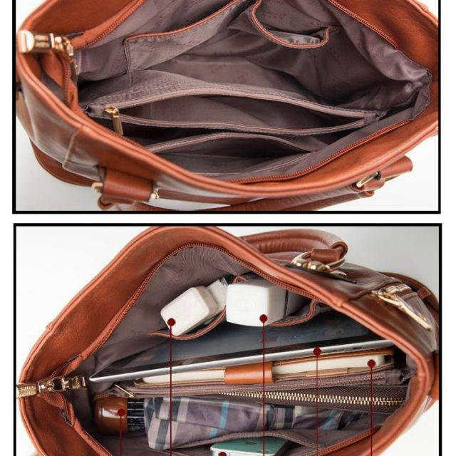 Women's Casual Tote Bag with Zippers