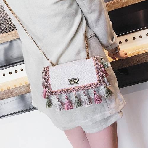 Boho Style Tassel Decorated Mini Women's Bag