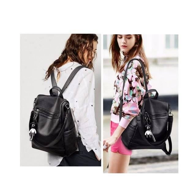 Women's Fashion Style Leather School Backpack