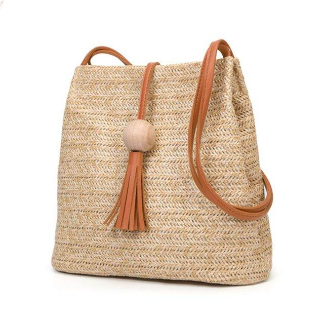 Women's Boho Straw Crossbody Bag