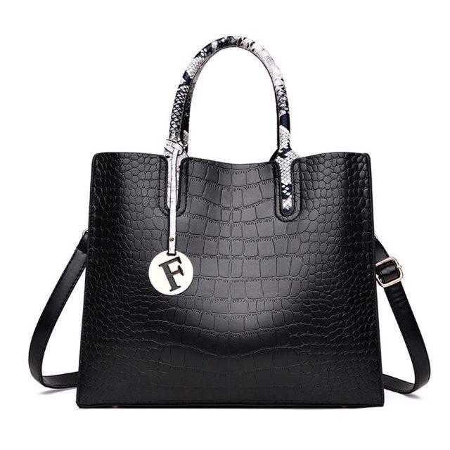 Alligator Skin Patterned Top-Handle Bag