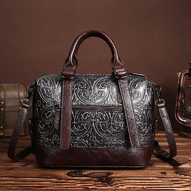 Vintage Genuine Leather Floral Handbang