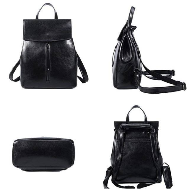 Fashion Women's Genuine Leather Backpack with Slip Pocket
