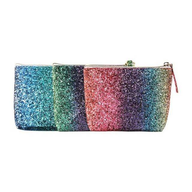 Gradient Rainbow Glitter Cosmetic Bag