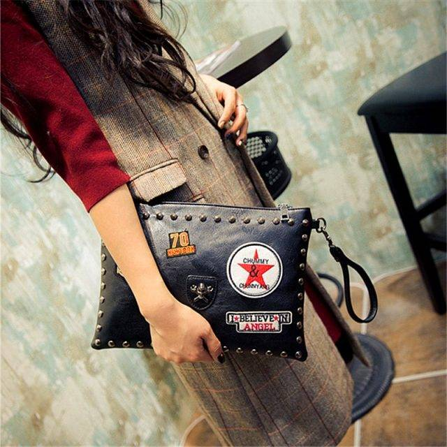 Fashion Badges Decorated Clutch