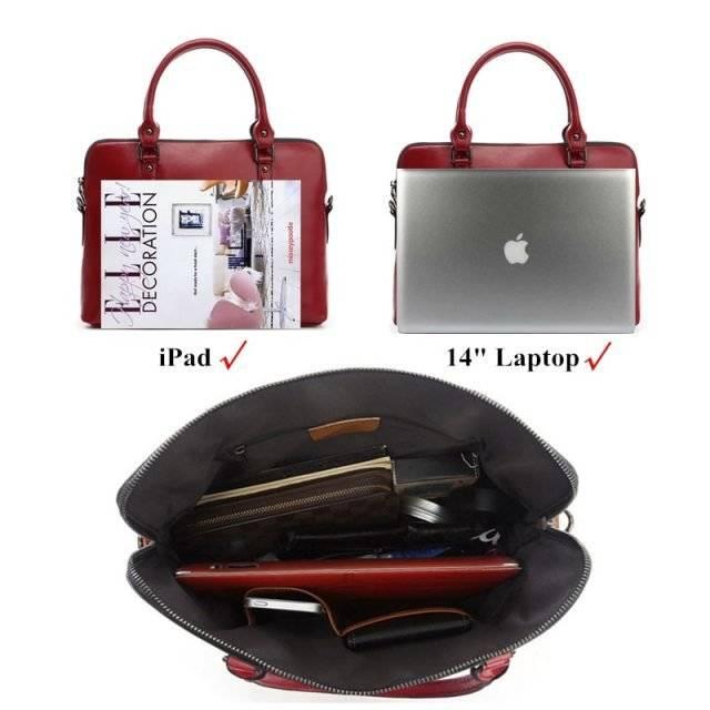 Fashion Colorful Women's Genuine Leather Laptop Handbag