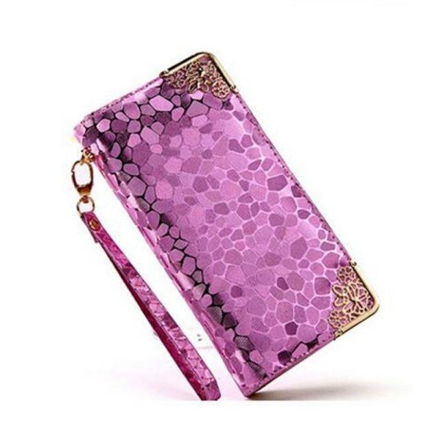 Feminine Long Patterned Leather Women's Wallet