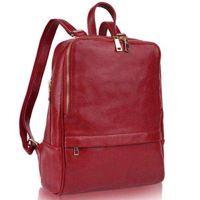 Fashion Women's Genuine Leather Laptop Backpack