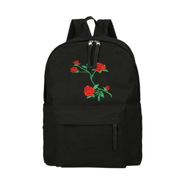 Women's Rose Embroidered Canvas Backpack
