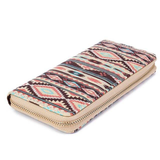 Boho Ornament Printed Canvas Women's Wallet