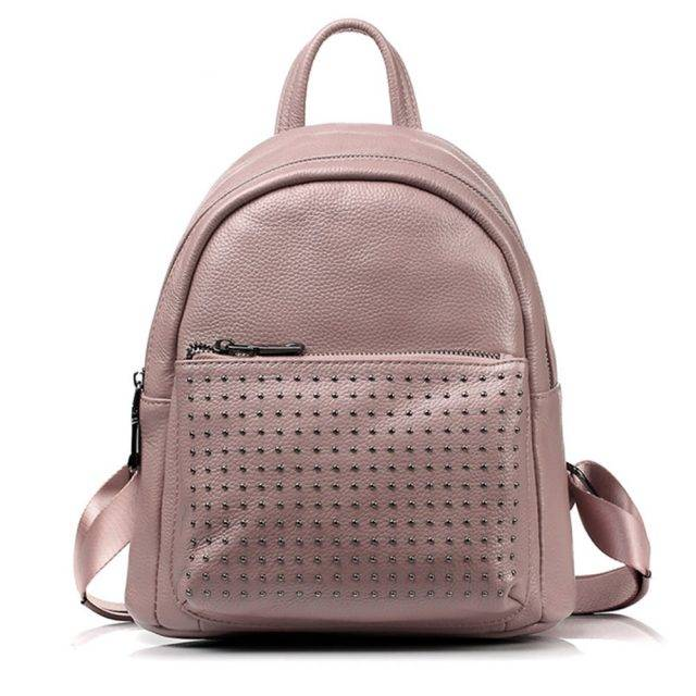 Preppy Style Decorative Rivets Women's Genuine Leather Backpack