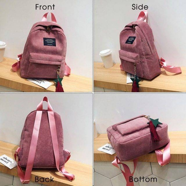 Women's Corduroy Backpack with Tassel