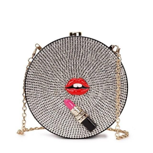 Women's Glossy Design Round Shaped Clutch