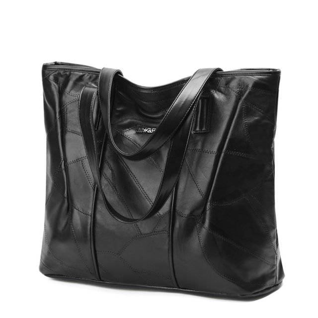 Women's Mosaic Leather Solid Black Tote Bag
