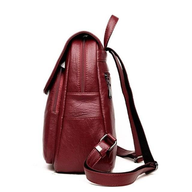 Casual D Letter Cover Women's Genuine Leather Backpack