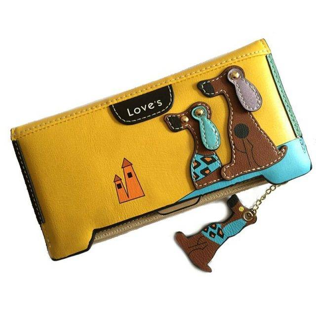 Women's Cartoon Dog Leather Wallet
